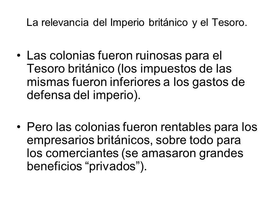 La relevancia del Imperio británico y el Tesoro. Las colonias fueron ruinosas para el Tesoro británico (los impuestos de las mismas fueron inferiores