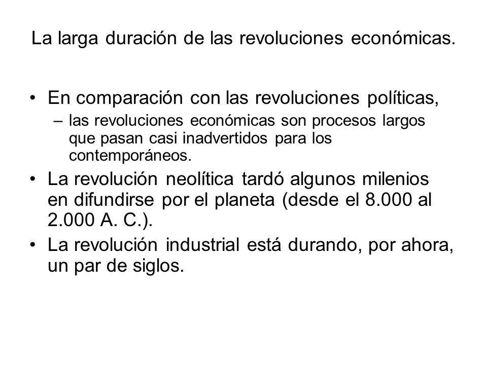 La larga duración de las revoluciones económicas. En comparación con las revoluciones políticas, –las revoluciones económicas son procesos largos que