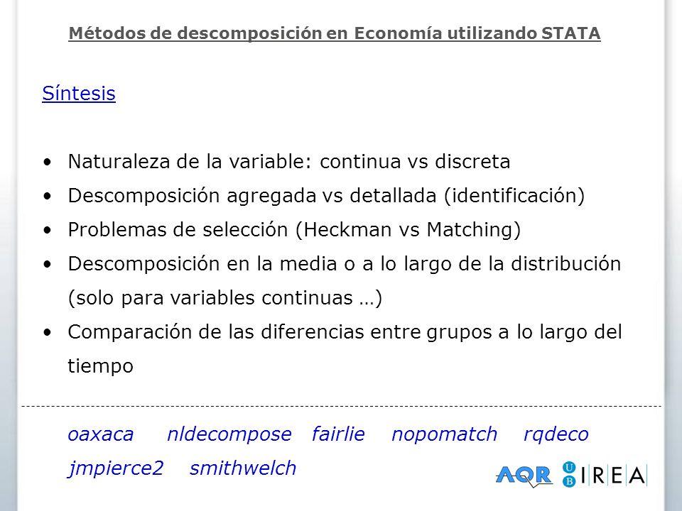 Síntesis Naturaleza de la variable: continua vs discreta Descomposición agregada vs detallada (identificación) Problemas de selección (Heckman vs Matc