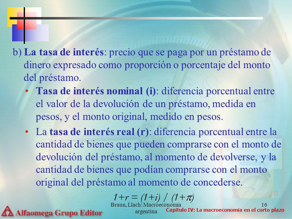 Braun, Llach: Macroeconomía argentina 16 Tasa de interés nominal (i): diferencia porcentual entre el valor de la devolución de un préstamo, medida en pesos, y el monto original, medido en pesos.