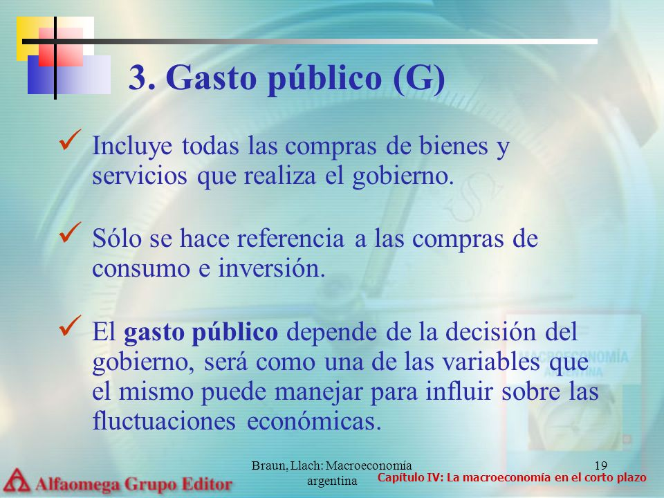 Braun, Llach: Macroeconomía argentina 19 Incluye todas las compras de bienes y servicios que realiza el gobierno. Sólo se hace referencia a las compra