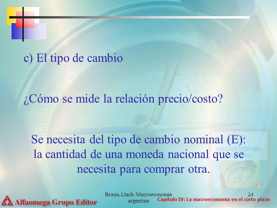 Braun, Llach: Macroeconomía argentina 24 c) El tipo de cambio ¿Cómo se mide la relación precio/costo? Se necesita del tipo de cambio nominal (E): la c