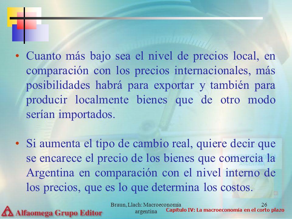 Braun, Llach: Macroeconomía argentina 26 Cuanto más bajo sea el nivel de precios local, en comparación con los precios internacionales, más posibilida