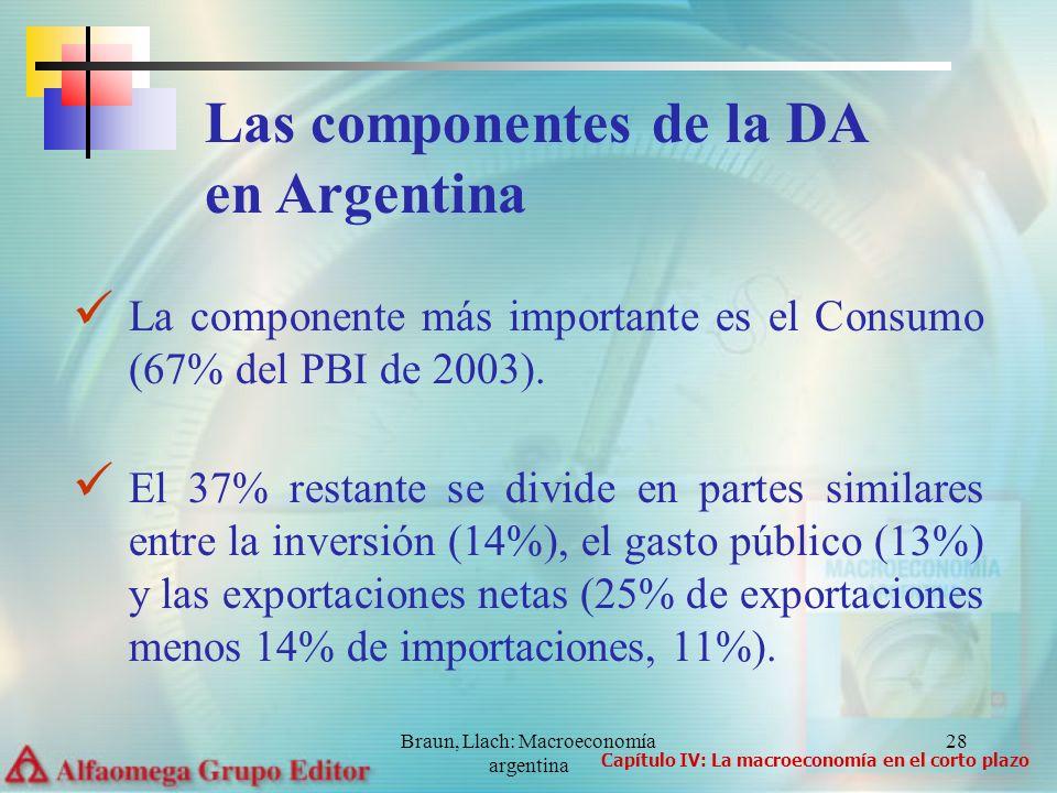 Braun, Llach: Macroeconomía argentina 28 La componente más importante es el Consumo (67% del PBI de 2003). El 37% restante se divide en partes similar