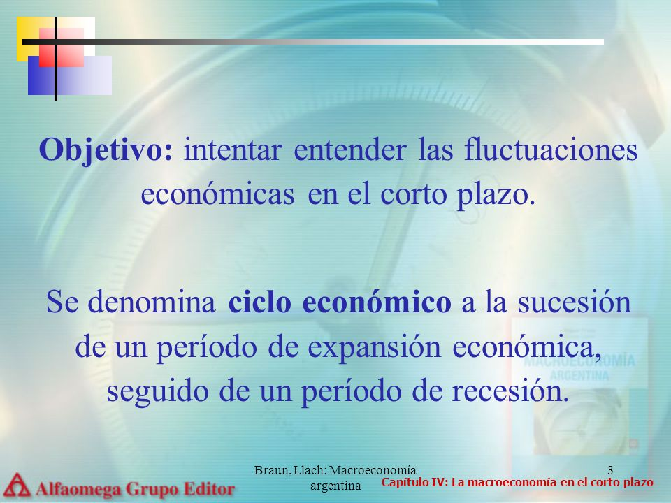 Braun, Llach: Macroeconomía argentina 3 Objetivo: intentar entender las fluctuaciones económicas en el corto plazo. Se denomina ciclo económico a la s