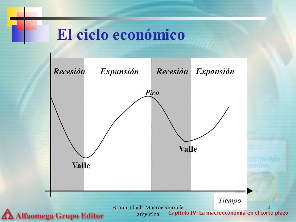 Braun, Llach: Macroeconomía argentina 4 Tiempo Pico Valle Recesión Expansión Recesión Expansión El ciclo económico Capítulo IV: La macroeconomía en el corto plazo