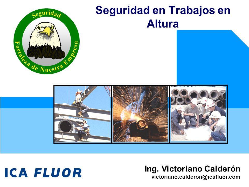 Ing. Victoriano Calderón victoriano.calderon@icafluor.com Seguridad en Trabajos en Altura