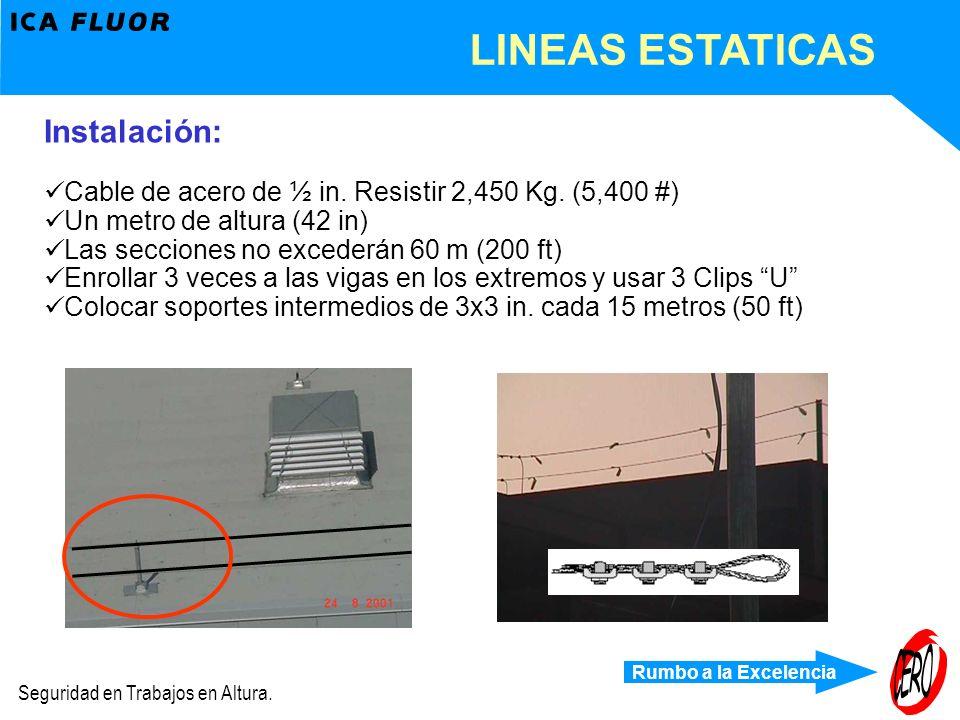 Rumbo a la Excelencia Seguridad en Trabajos en Altura. LINEAS ESTATICAS Instalación: Cable de acero de ½ in. Resistir 2,450 Kg. (5,400 #) Un metro de