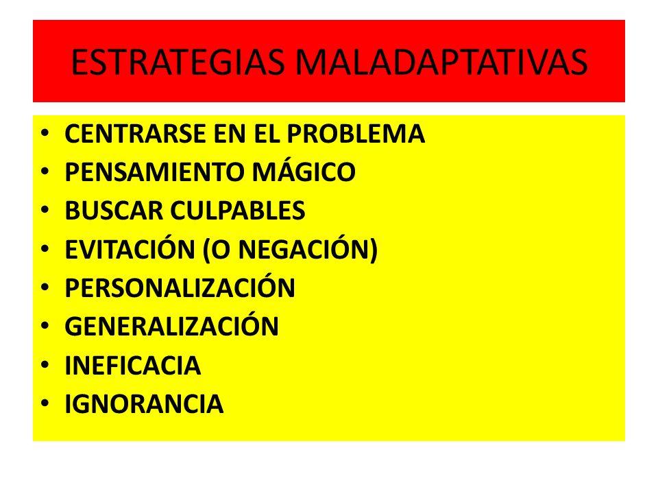 ESTRATEGIAS MALADAPTATIVAS CENTRARSE EN EL PROBLEMA PENSAMIENTO MÁGICO BUSCAR CULPABLES EVITACIÓN (O NEGACIÓN) PERSONALIZACIÓN GENERALIZACIÓN INEFICAC