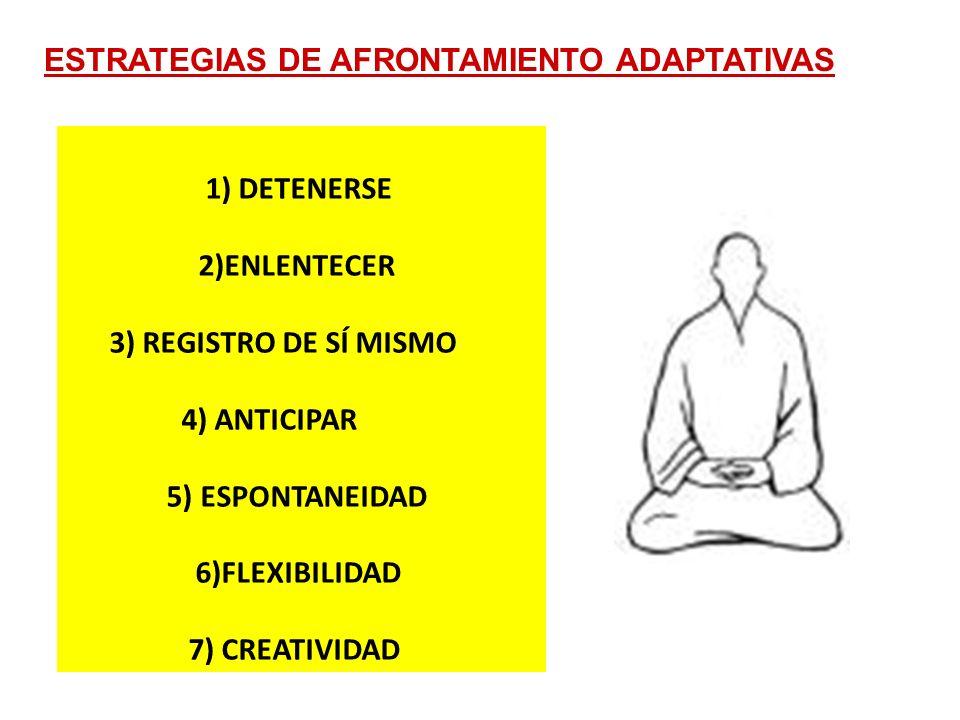 1) DETENERSE 2)ENLENTECER 3) REGISTRO DE SÍ MISMO 4) ANTICIPAR 5) ESPONTANEIDAD 6)FLEXIBILIDAD 7) CREATIVIDAD ESTRATEGIAS DE AFRONTAMIENTO ADAPTATIVAS
