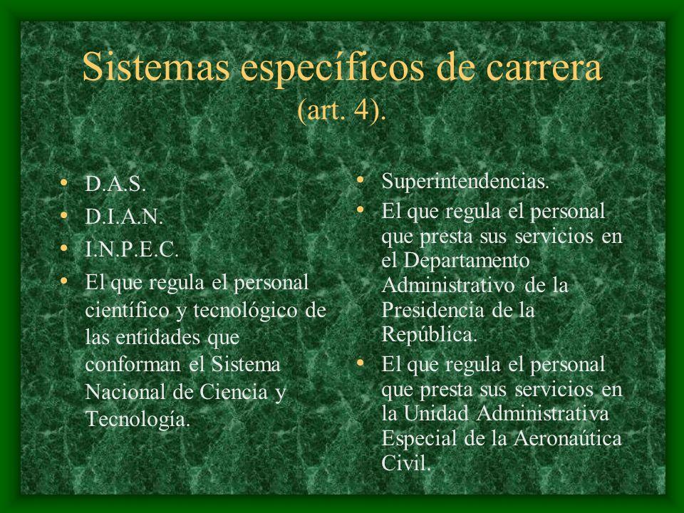 Sistemas específicos de carrera (art. 4). D.A.S. D.I.A.N. I.N.P.E.C. El que regula el personal científico y tecnológico de las entidades que conforman