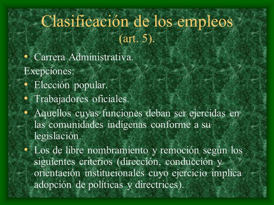 Clasificación de los empleos (art. 5). Carrera Administrativa. Exepciones: Elección popular. Trabajadores oficiales. Aquellos cuyas funciones deban se