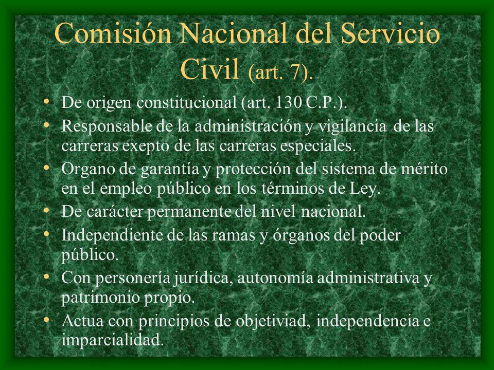 Comisión Nacional del Servicio Civil (art. 7). De origen constitucional (art. 130 C.P.). Responsable de la administración y vigilancia de las carreras