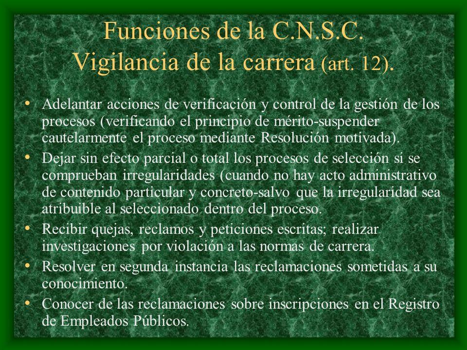 Funciones de la C.N.S.C. Vigilancia de la carrera (art. 12). Adelantar acciones de verificación y control de la gestión de los procesos (verificando e