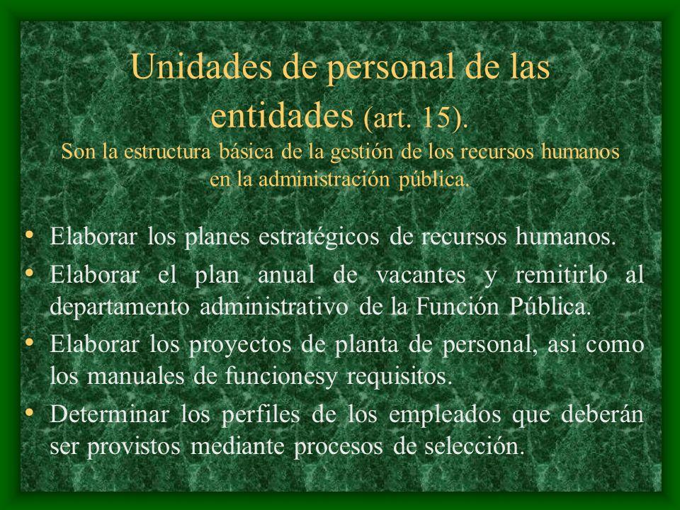 Unidades de personal de las entidades (art. 15). Son la estructura básica de la gestión de los recursos humanos en la administración pública. Elaborar