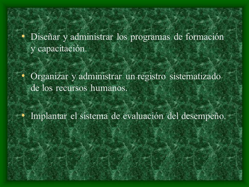 Diseñar y administrar los programas de formación y capacitación. Organizar y administrar un registro sistematizado de los recursos humanos. Implantar