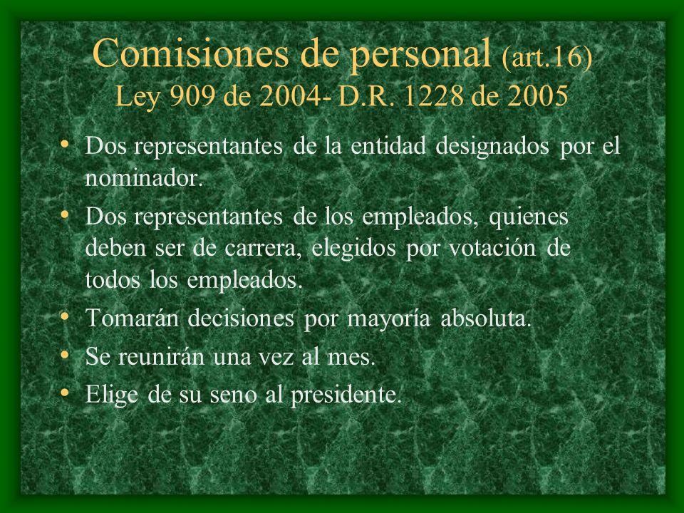 Comisiones de personal (art.16) Ley 909 de 2004- D.R. 1228 de 2005 Dos representantes de la entidad designados por el nominador. Dos representantes de