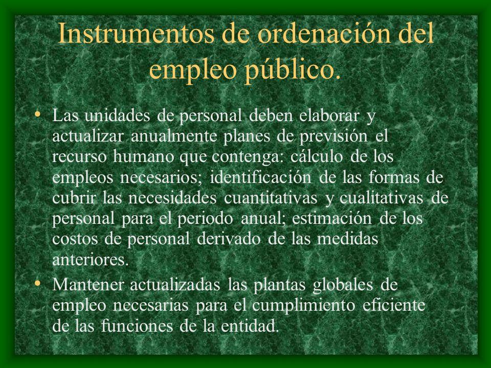 Instrumentos de ordenación del empleo público. Las unidades de personal deben elaborar y actualizar anualmente planes de previsión el recurso humano q