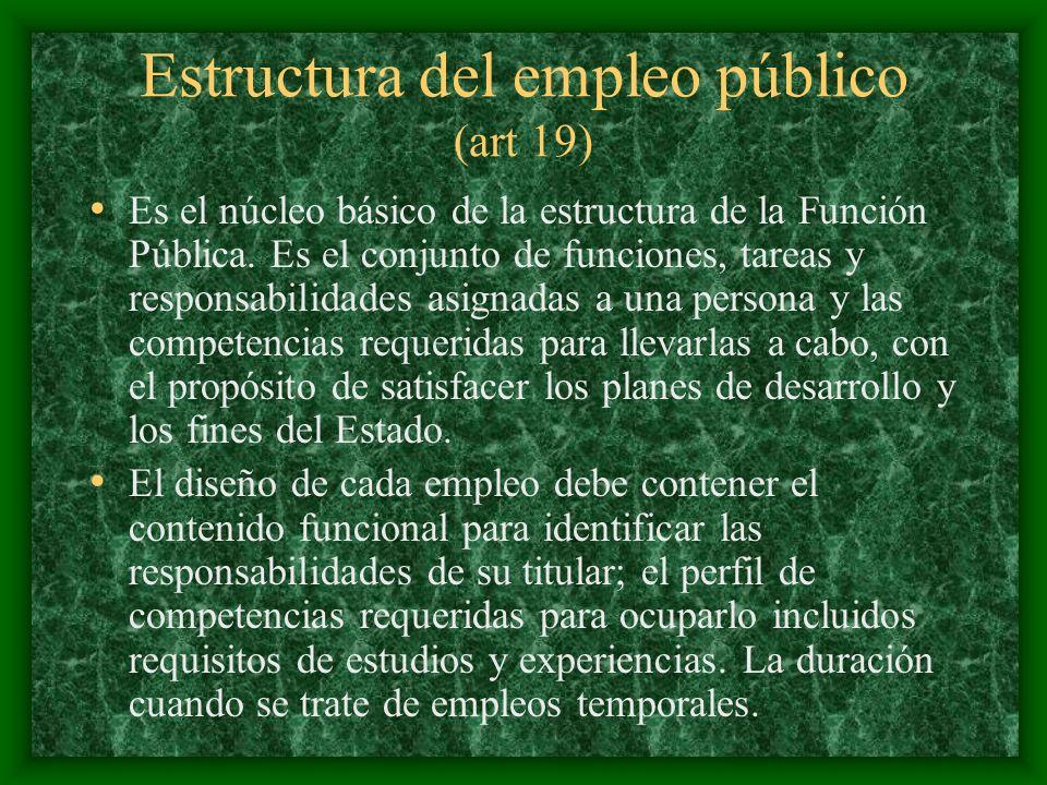 Estructura del empleo público (art 19) Es el núcleo básico de la estructura de la Función Pública. Es el conjunto de funciones, tareas y responsabilid