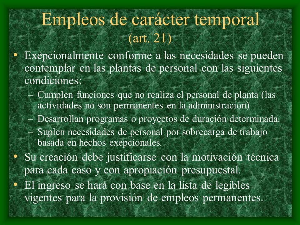 Empleos de carácter temporal (art. 21) Exepcionalmente conforme a las necesidades se pueden contemplar en las plantas de personal con las siguientes c