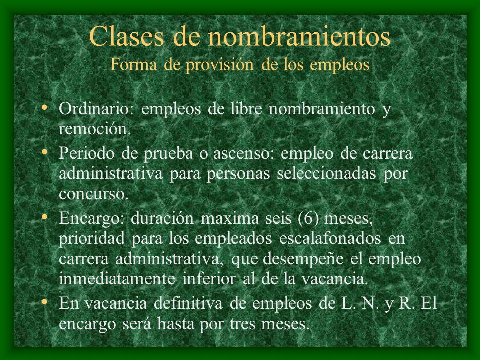 Clases de nombramientos Forma de provisión de los empleos Ordinario: empleos de libre nombramiento y remoción. Periodo de prueba o ascenso: empleo de