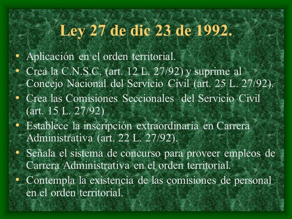 Ley 27 de dic 23 de 1992. Aplicación en el orden territorial. Crea la C.N.S.C. (art. 12 L. 27/92) y suprime al Concejo Nacional del Servicio Civil (ar