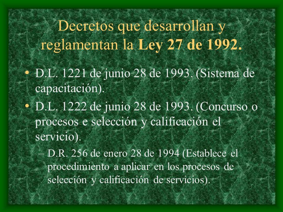 Decretos que desarrollan y reglamentan la Ley 27 de 1992. D.L. 1221 de junio 28 de 1993. (Sistema de capacitación). D.L. 1222 de junio 28 de 1993. (Co