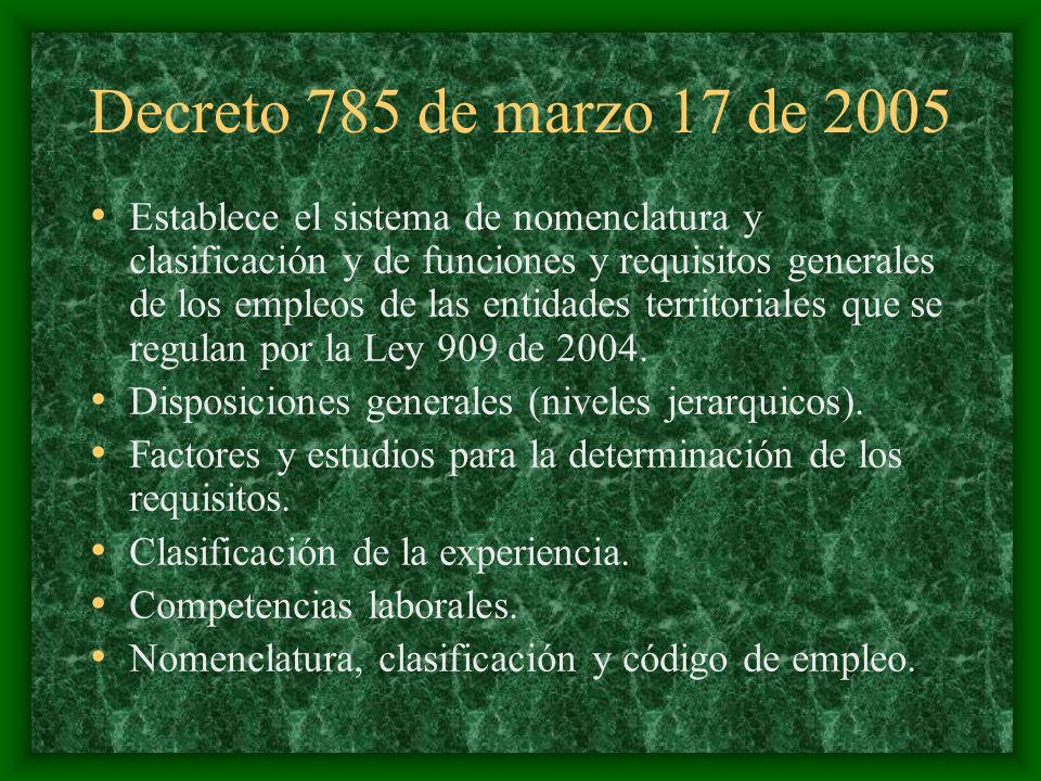 Decreto 785 de marzo 17 de 2005 Establece el sistema de nomenclatura y clasificación y de funciones y requisitos generales de los empleos de las entid