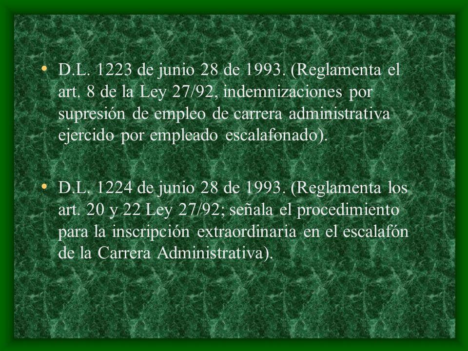 D.L. 1223 de junio 28 de 1993. (Reglamenta el art. 8 de la Ley 27/92, indemnizaciones por supresión de empleo de carrera administrativa ejercido por e