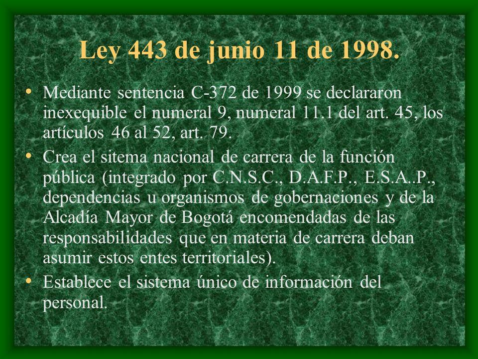 Ley 443 de junio 11 de 1998. Mediante sentencia C-372 de 1999 se declararon inexequible el numeral 9, numeral 11.1 del art. 45, los artículos 46 al 52