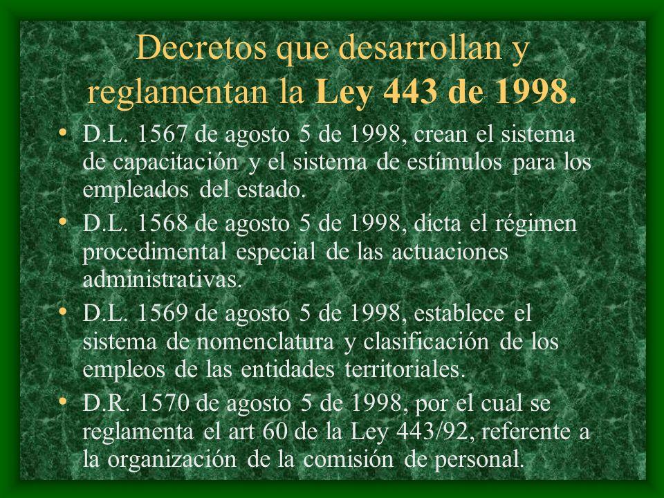 Decretos que desarrollan y reglamentan la Ley 443 de 1998. D.L. 1567 de agosto 5 de 1998, crean el sistema de capacitación y el sistema de estímulos p