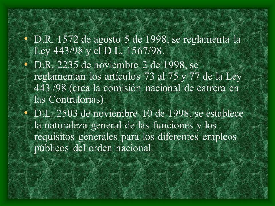 D.R.1572 de agosto 5 de 1998, se reglamenta la Ley 443/98 y el D.L.