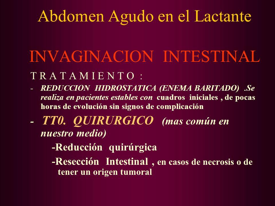 Abdomen Agudo en el Lactante INVAGINACION INTESTINAL T R A T A M I E N T O : -REDUCCION HIDROSTATICA (ENEMA BARITADO).Se realiza en pacientes estables
