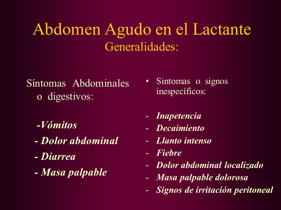 Abdomen Agudo en el Lactante Generalidades: En la evaluación clínica se requiere: -Acuciosidad en la recolección de datos -Paciencia y proligidad en el éxamen -Conocimiento previo de las patologías más comunes en este grupo etario -En algunos casos Sedación -