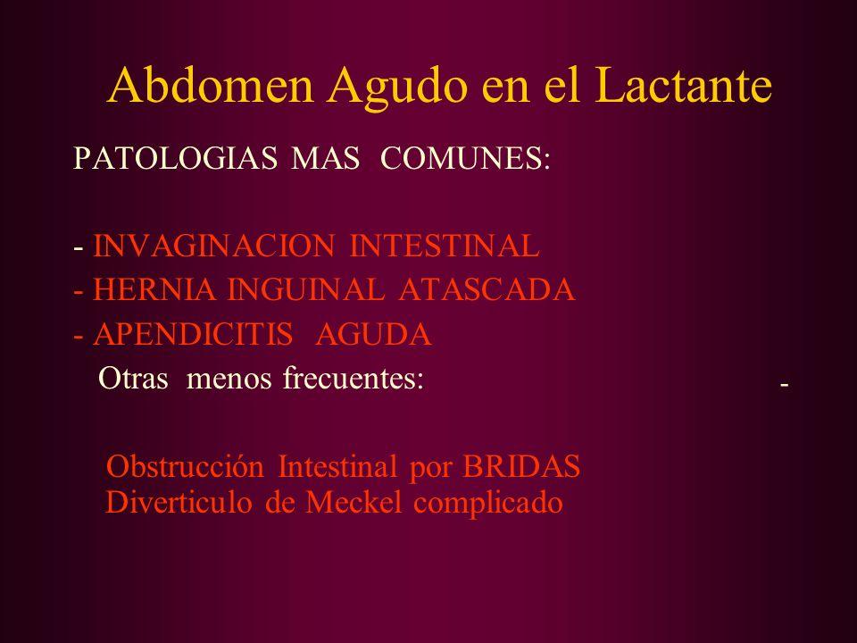 Abdomen Agudo en el Lactante PATOLOGIAS MAS COMUNES: - INVAGINACION INTESTINAL - HERNIA INGUINAL ATASCADA - APENDICITIS AGUDA Otras menos frecuentes: