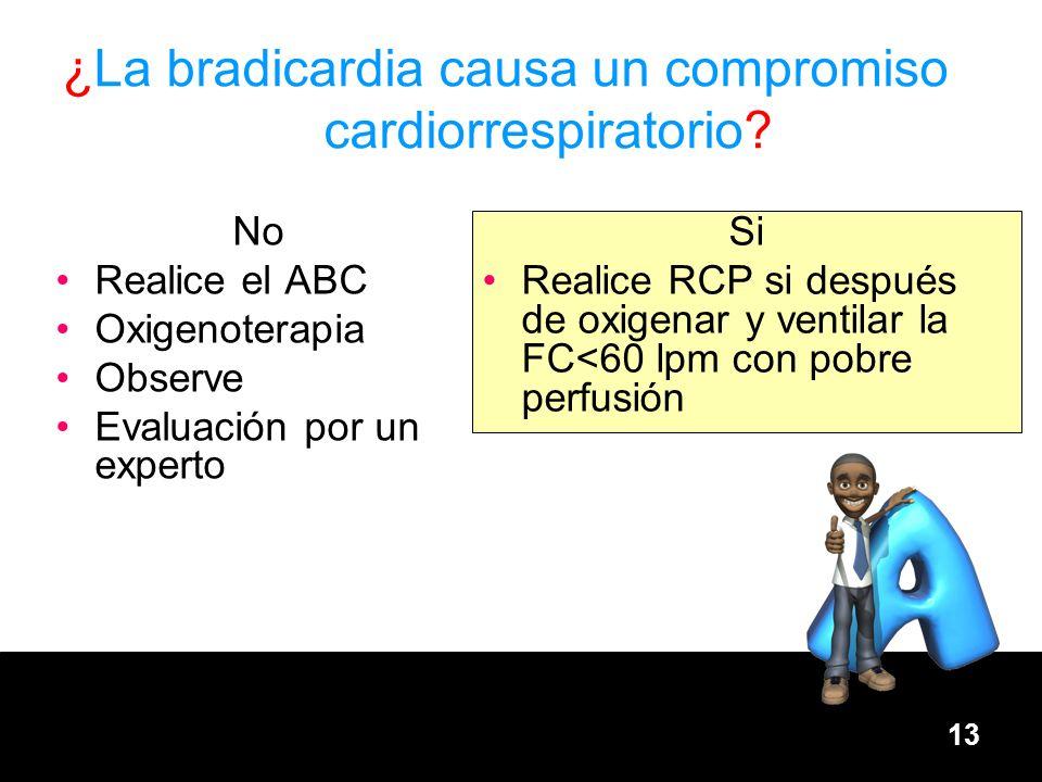 13 No Realice el ABC Oxigenoterapia Observe Evaluación por un experto Si Realice RCP si después de oxigenar y ventilar la FC<60 lpm con pobre perfusió