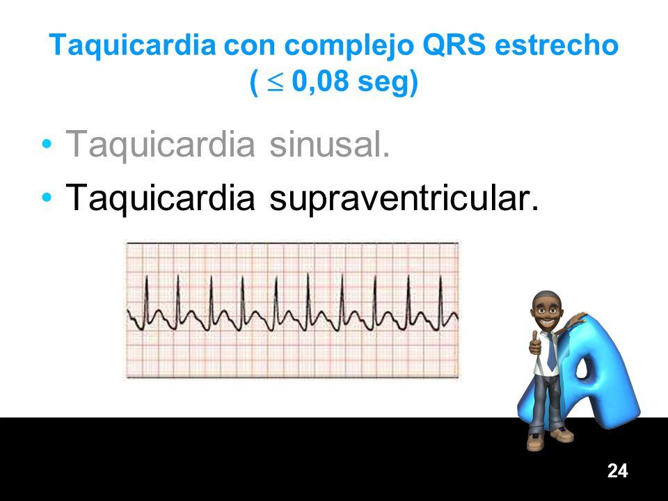 24 Taquicardia sinusal. Taquicardia supraventricular. Taquicardia con complejo QRS estrecho ( 0,08 seg)