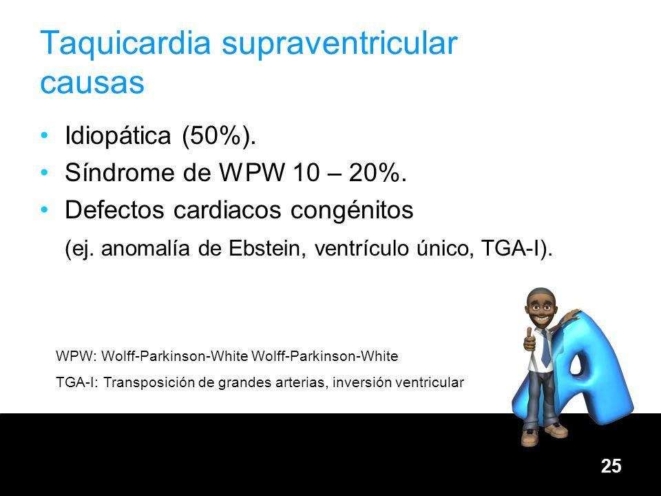 25 Taquicardia supraventricular causas Idiopática (50%). Síndrome de WPW 10 – 20%. Defectos cardiacos congénitos (ej. anomalía de Ebstein, ventrículo