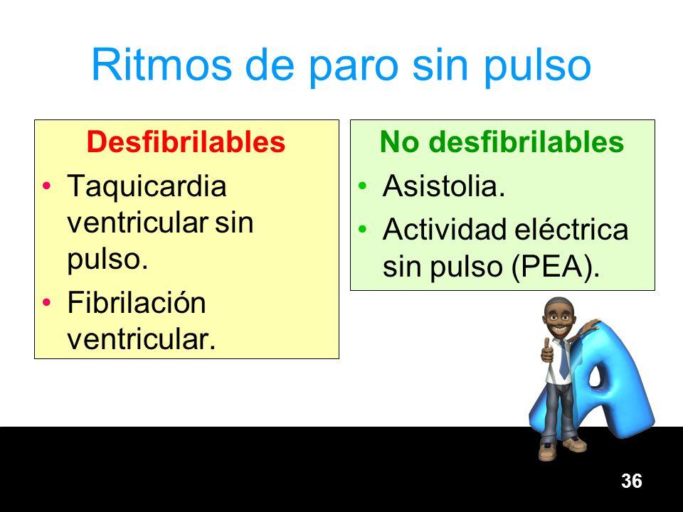36 Ritmos de paro sin pulso Desfibrilables Taquicardia ventricular sin pulso. Fibrilación ventricular. No desfibrilables Asistolia. Actividad eléctric
