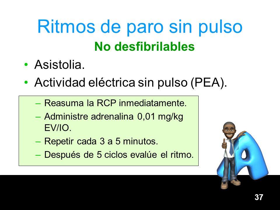 37 Ritmos de paro sin pulso No desfibrilables Asistolia. Actividad eléctrica sin pulso (PEA). –Reasuma la RCP inmediatamente. –Administre adrenalina 0