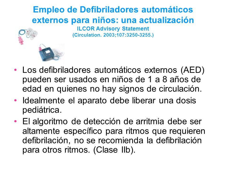 Empleo de Defibriladores automáticos externos para niños: una actualización ILCOR Advisory Statement (Circulation. 2003;107:3250-3255.) Los defibrilad