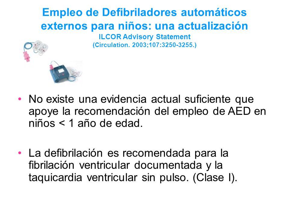 Empleo de Defibriladores automáticos externos para niños: una actualización ILCOR Advisory Statement (Circulation. 2003;107:3250-3255.) No existe una