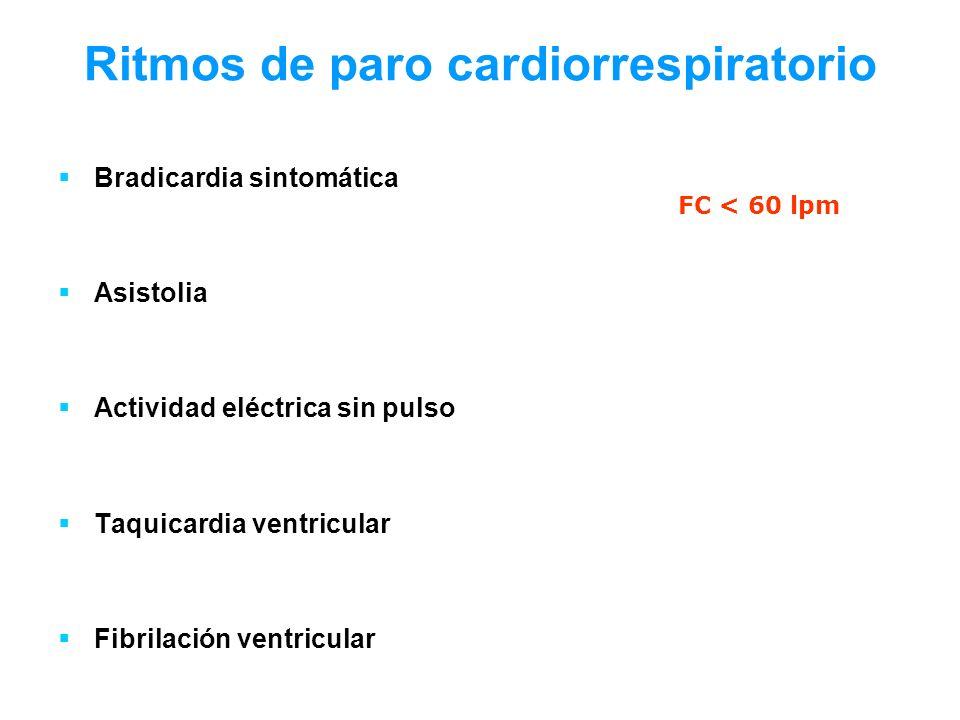 Ritmos de paro cardiorrespiratorio Bradicardia sintomática Asistolia Actividad eléctrica sin pulso Taquicardia ventricular Fibrilación ventricular FC