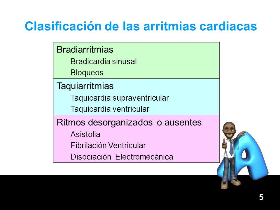 5 Clasificación de las arritmias cardiacas Bradiarritmias Bradicardia sinusal Bloqueos Taquiarritmias Taquicardia supraventricular Taquicardia ventric
