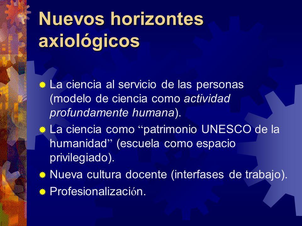 Nuevos horizontes axiológicos La ciencia al servicio de las personas (modelo de ciencia como actividad profundamente humana). La ciencia como patrimon
