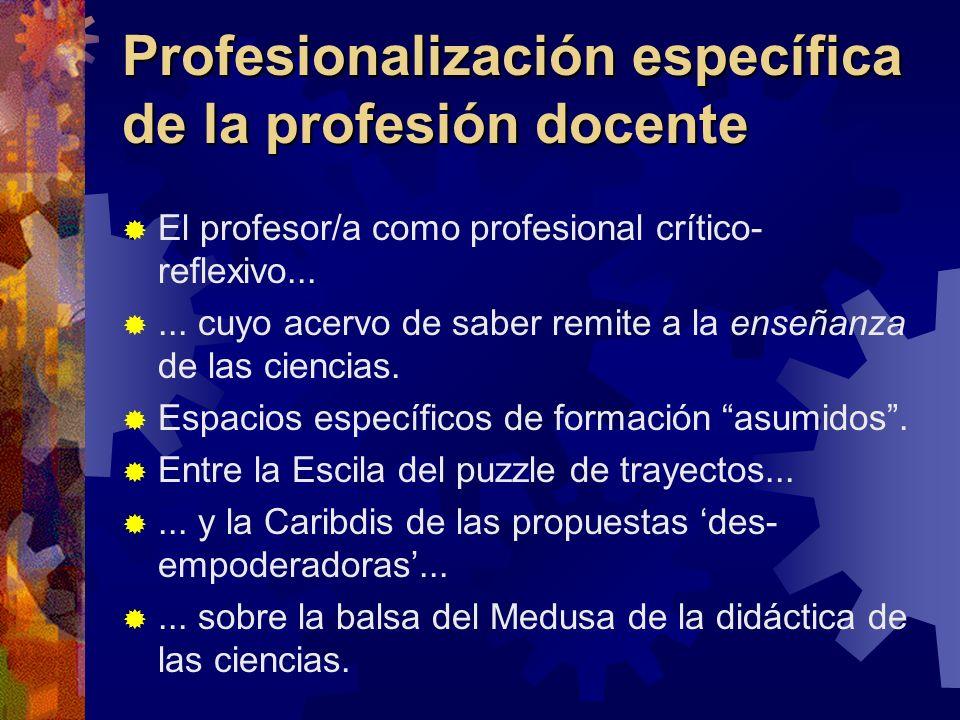 Profesionalización específica de la profesión docente El profesor/a como profesional crítico- reflexivo...... cuyo acervo de saber remite a la enseñan