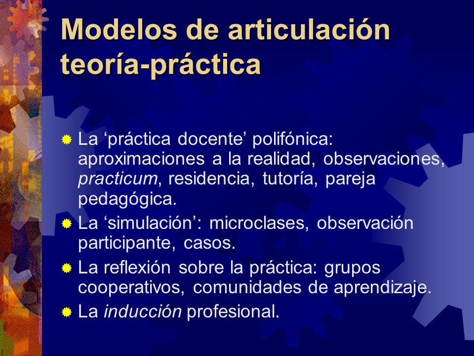 Modelos de articulación teoría-práctica La práctica docente polifónica: aproximaciones a la realidad, observaciones, practicum, residencia, tutoría, p