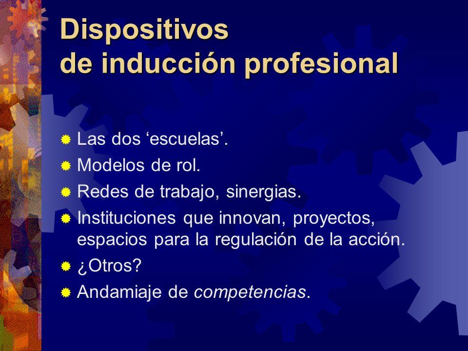 Dispositivos de inducción profesional Las dos escuelas. Modelos de rol. Redes de trabajo, sinergias. Instituciones que innovan, proyectos, espacios pa