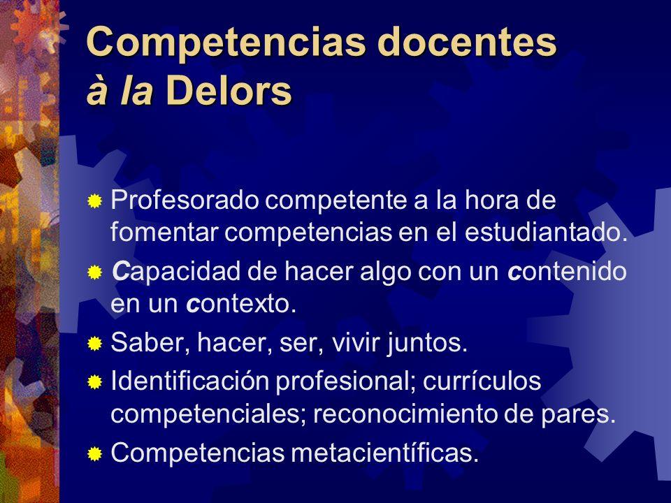 Competencias docentes à la Delors Profesorado competente a la hora de fomentar competencias en el estudiantado. Capacidad de hacer algo con un conteni
