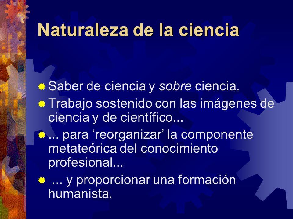Naturaleza de la ciencia Saber de ciencia y sobre ciencia. Trabajo sostenido con las imágenes de ciencia y de científico...... para reorganizar la com